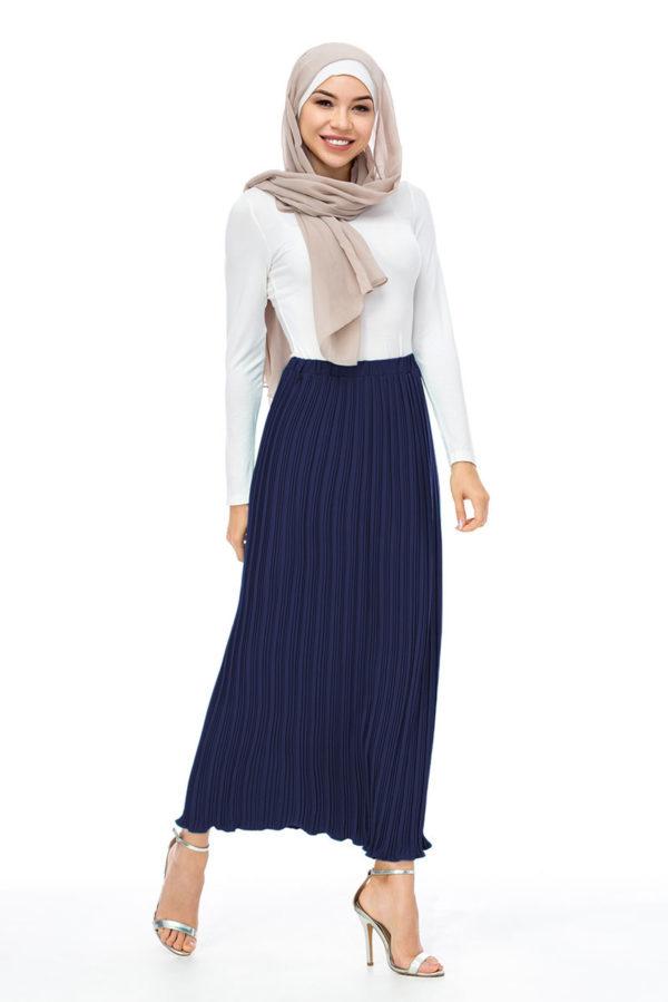 Chiffon Pleated Pencil Elastic Long Skirt