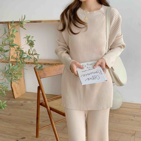 Creamy Elegant Ribbed Knit 2 Piece Set