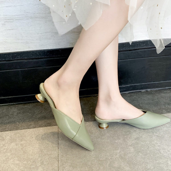 Elegant Pointed Toe Flat Mules with Low Heels