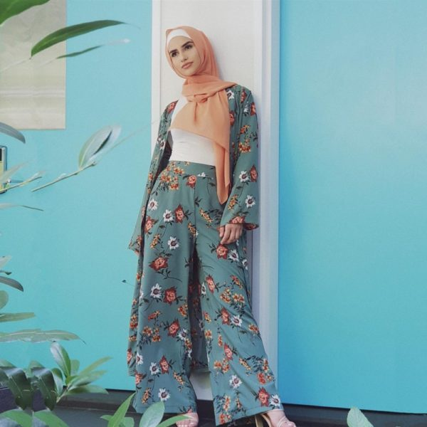 Floral Print Two Piece Set Cardigan and Wide Leg Pants