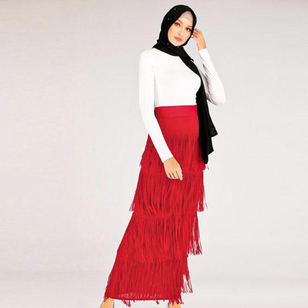 High Waist Long Fringed Pencil Skirt