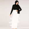 High Waist Long Fringed Pencil Skirt
