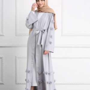 Modest Flower Abaya Kimono Dress