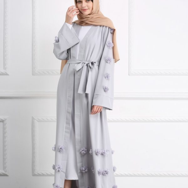 Modest Flower Abaya Kimono Dress