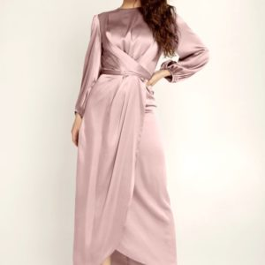 Satin Wrap Maxi Dress with Puff Sleeves