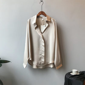 Solid Long Sleeves Satin Blouse