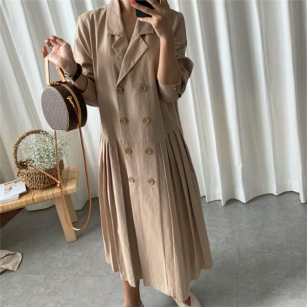 Summer Double-Breasted Pleated Dress