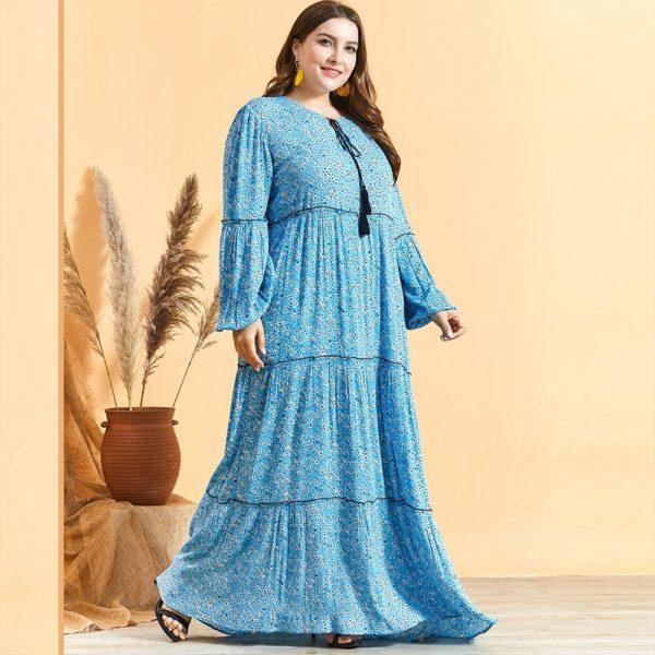Summer Floral Print Lantern Sleeve Plus Size Maxi Dress