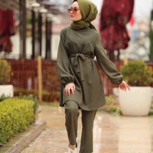 turkish modest woman two piece suit