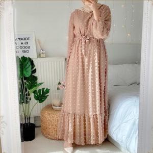Boho Long Sleeve Pompom Maxi Dress 1 Brown