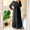 Boho Long Sleeve Pom Pom Maxi Dress