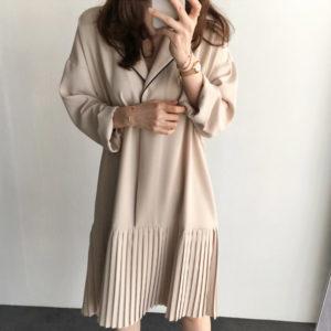 Casual Long Sleeve Pleated Loose Midi Dress 2 Featured