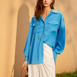 Classic Loose Fit Button Down Blouse 6 featured
