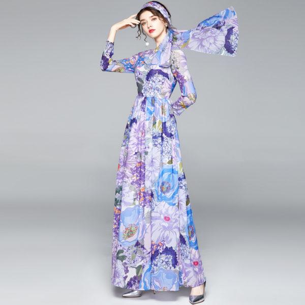 Floral Print Chiffon Summer Maxi Dress