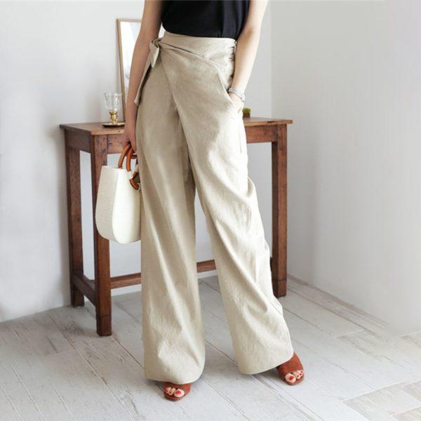 Linen Wide-Leg Wrap Tie Palazzo Pants