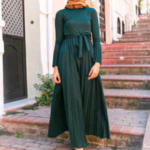 Long Pleated Maxi Dress with Belt 1. Featured