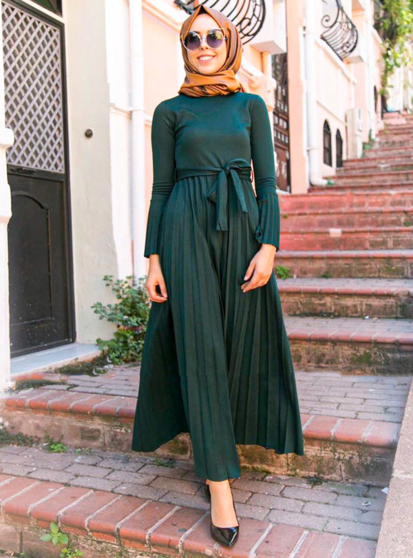 Long Pleated Maxi Dress with Belt