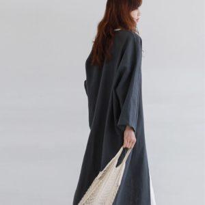 Modest Linen Kimono Cardigan 3 Navy Blue featured