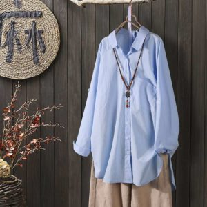Oversized Cotton and linen Textured Blouse 2 Blue