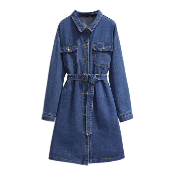 Plus Size Denim Fitted Shirt Dress with Belt