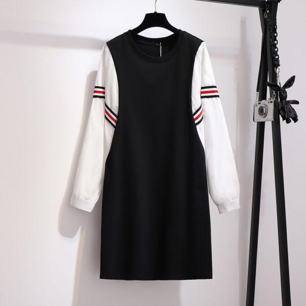 Plus Size Striped Spring-Autumn Mini Dress