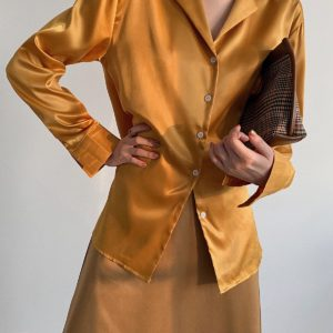 Silky Classic Fit Mustard Yellow Blouse 3 Featured