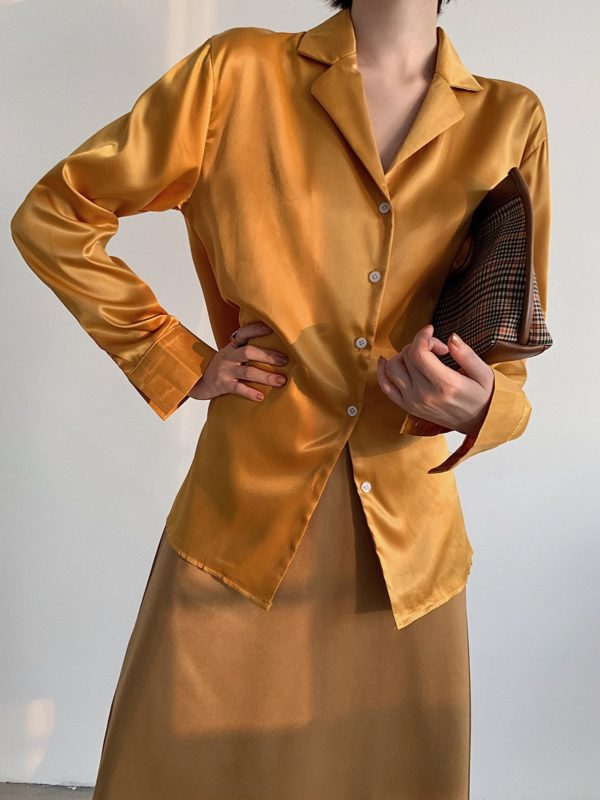 Silky Classic-Fit Mustard Yellow Blouse