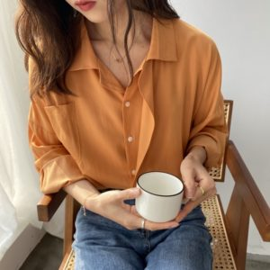 Spring Button Up Loose Long Sleeve Blouse 7 Orange