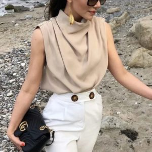Vintage High Neck Sleeveless Blouse 4 Featured
