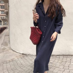 Womens Basic Solid Loose Shirt Dress  4. Featured