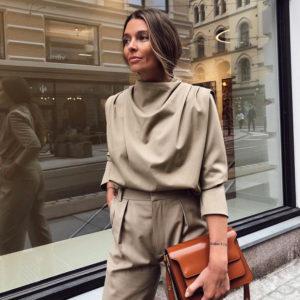 Womens Draped Collar Elegant Long Sleeve Blouse 7 Featured