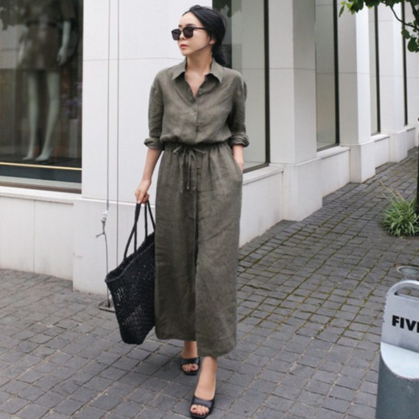 Ankle Length Linen Dress