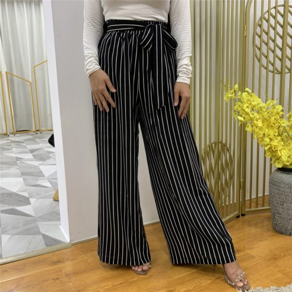 Casual Wide Leg Striped Pants