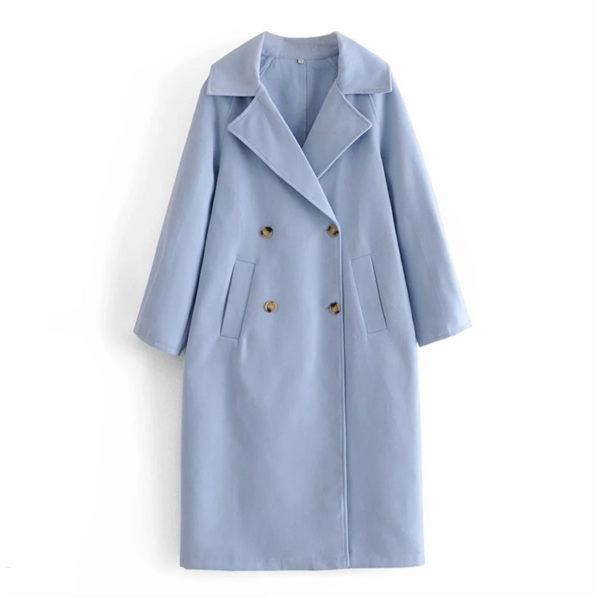 Double Breasted Longline Wool Coat