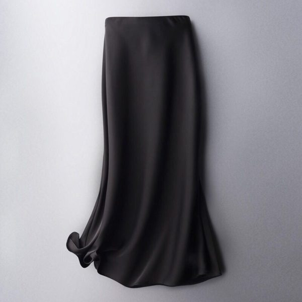 High Waist Solid Satin Skirt
