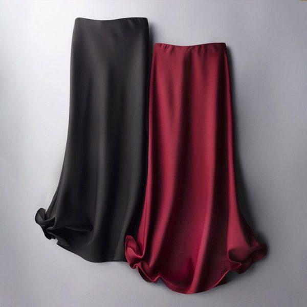 High Waist Solid Satin Skirt 3 Featured