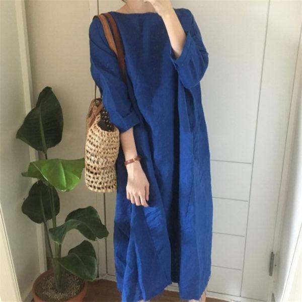 Korean Style Linen Shirt Dress
