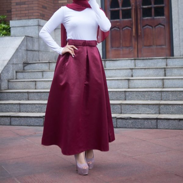 Long Pleated Elegant Maxi Skirt with Bow