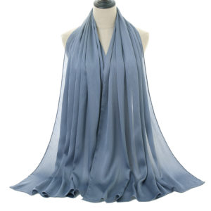 Natural wrinkle Chiffon Hijab 15 LightBlue Style10