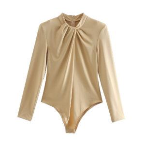 O Neck Long Sleeve Body Suit 1 Khaki Featured