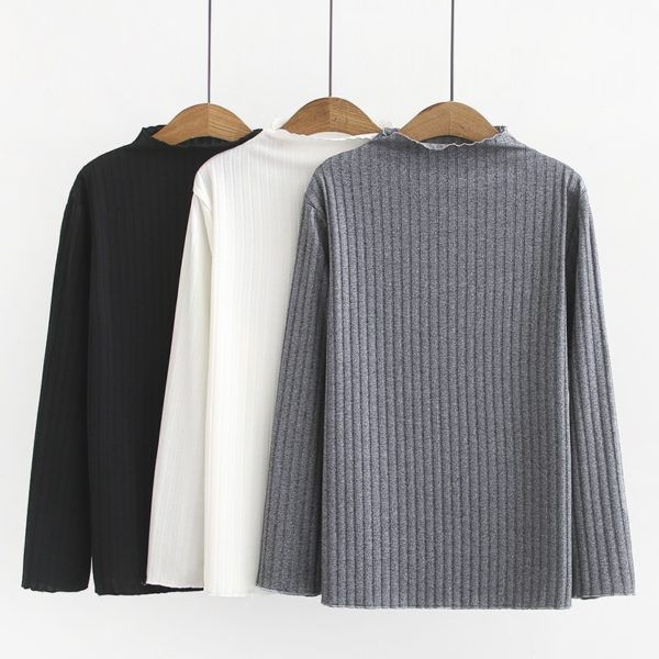 Plus Size Ribbed Mock Neck Long Sleeve Shirt