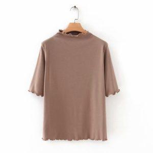 Plus Size High Neck Basic Top 4 Khaki featured