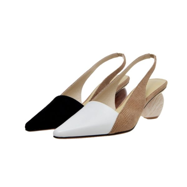 Pointed Toe Wooden Heel Shoes