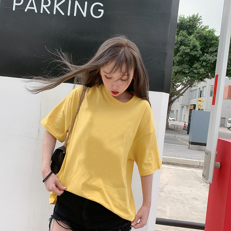Round neck drop shoulder t shirt 7