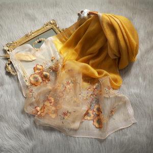 Silk embroidered Hijab 6