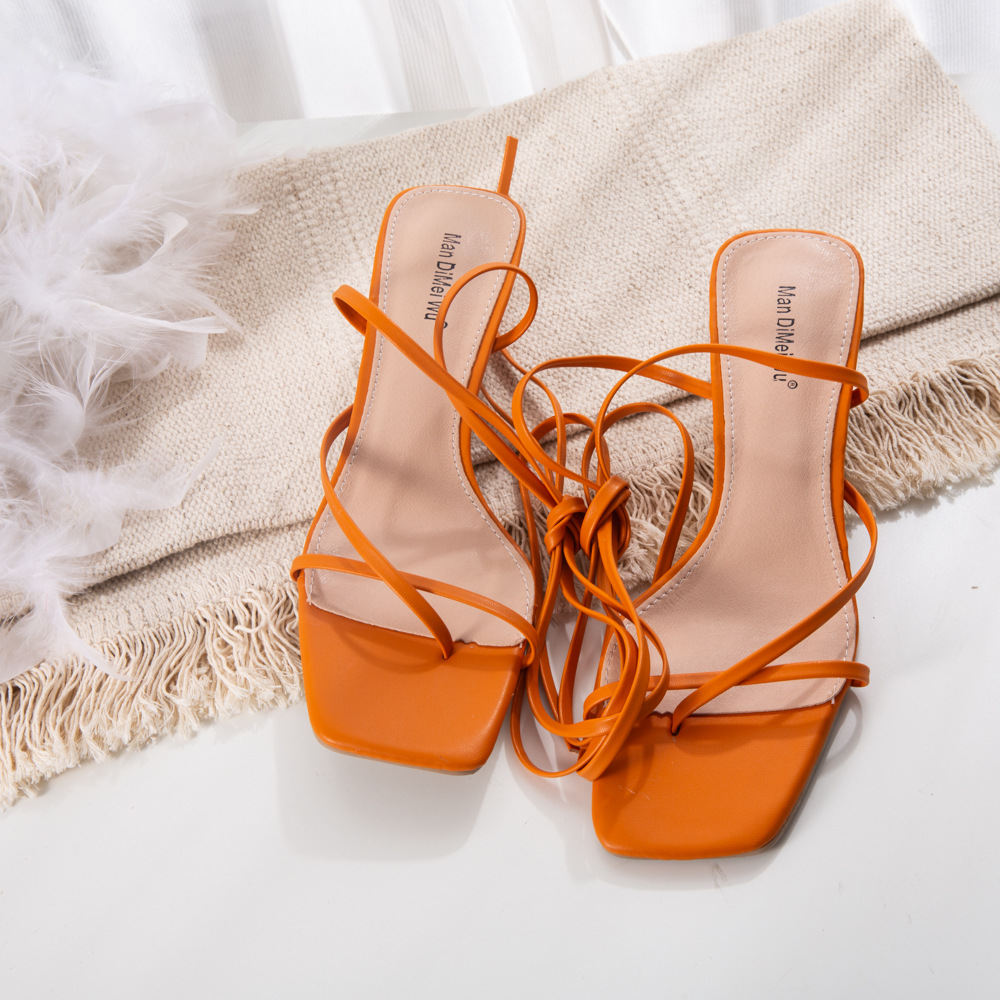 Strappy Sandals with Low Heels 1 Orange