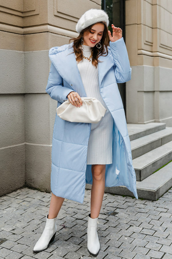 Icy Blue Quilted Winter Jacket