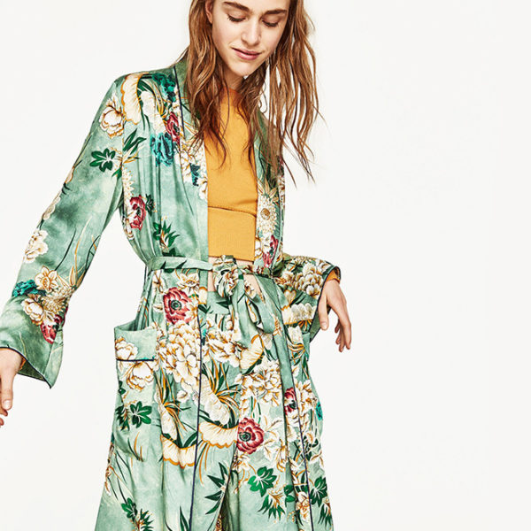 Long Floral Kimono Cardigan