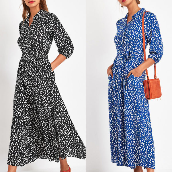 Collared Three-Quarter Sleeve Maxi Dress