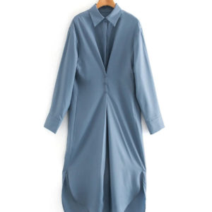 Evening Out Silky Icey Blue Shirt Dress 4 Main Featured
